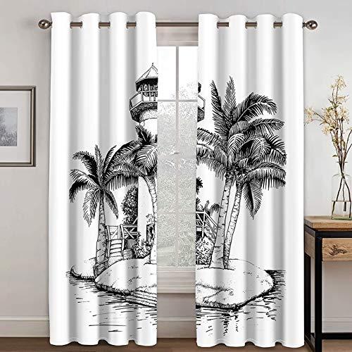 Bishilin Gardiner polyester med öljetter mönster vardagsrum vintage, fyr kokosnöt trädgardiner barnrum med öglor ogenomskinlig 214 x 244 cm