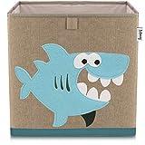 Lifeney Kinder Aufbewahrungsbox I praktische Aufbewahrungsbox für jedes Kinderzimmer I Kinder Spielkiste I Niedliche Spielzeugbox I Korb zur Aufbewahrung von Kinder Spielsachen (Hai dunkel)