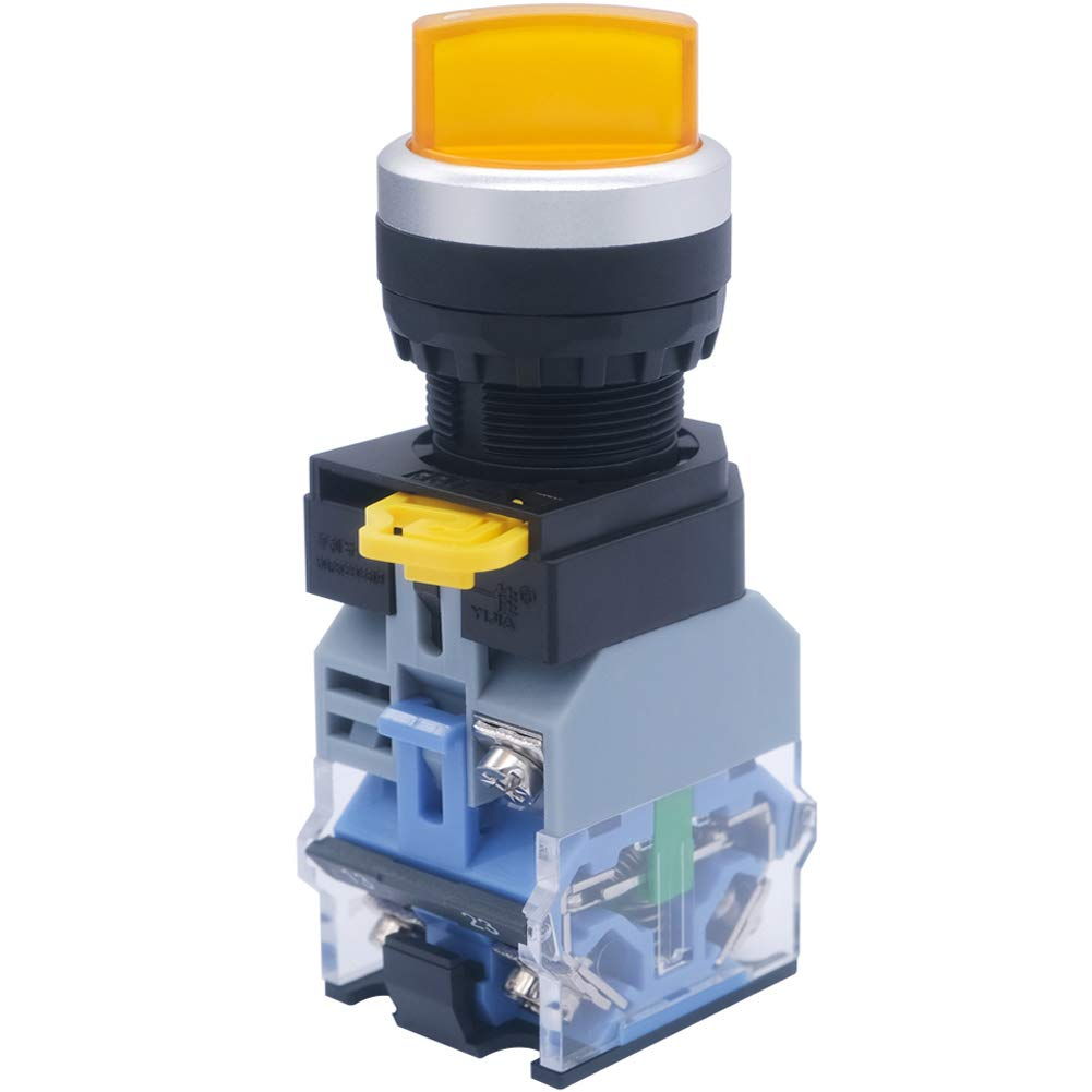 mxuteuk 1 NC NO 2 Position S Latching Rotary Light Yellow Ranking TOP12 Industry No. 110V
