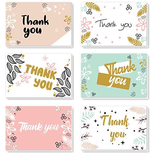 ProCase Tarjetas Agradecimiento [48 uds.], 8 Diseños con sobre a Juego, 4