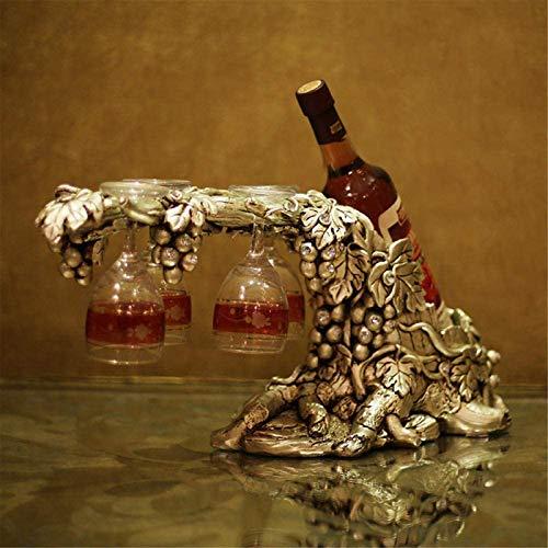Feeyond Vine Vino Botella Titular De La Resina De Vino Artesanal Vino Estante Casero Decoración Colgante Estante Botella 4 Copa De Vino Oro Regalo