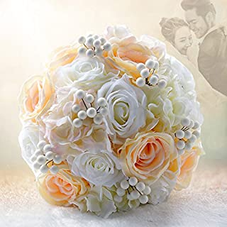 Abbie Home Wedding Bridal Bouquets Rose Penoy Bridemaid Holding Toss Silk Flowers-Apricot