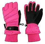 N'Ice Caps Kids Bulky Thinsulate and Waterproof Ski Glove with Ridges (9-10 Years, Neon Pink)