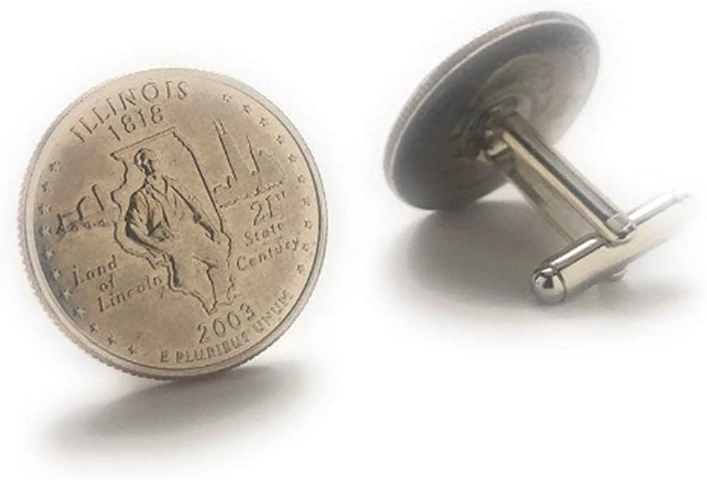 Cufflinks NEW before selling Illinois Quarter Suit Outlet SALE Flag State Coin U Enamel Jewelry