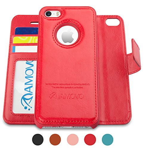 Amovo Case for iPhone SE [2 in 1], iPhone SE Wallet Case [Detachable Wallet Folio] [Premium Vegan Leather] iPhone SE 5 5S Leather Case with Wrist Strap Gift Box Package (Red)