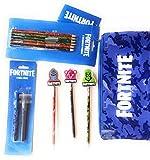 Fortnite - Juego de papelería para niños y 1 estuche grande, 6 lápices de colores Fortnite, 3 lápices con gomas de borrar Fortnite y 2 bolígrafos Fortnite Ball