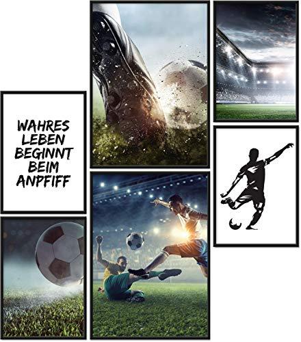 Papierschmiede® Premium Poster Set Fußball | 6 Bilder als stilvolle Wanddeko | 2X DIN A4 und 4X DIN A5 | Sport Kicker Anpfiff