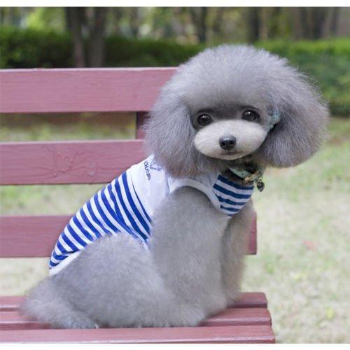 Kingnew Pequeño Perro Rayas Sailor Chaleco Camiseta Primavera Verano Marino Rayas Outfit Algodón Ropa Ropa para Cachorros Hoodie (Azul, L)