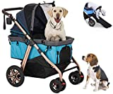 HPZ Pet Rover Titan-HD Premium Super-Sized Dog/Cat/Pet Stroller SUV Travel Carriage/w Access Ramp/100Lbs Capacity/Pumpless Rubber Wheels/Aluminum Frame for Small, Med, Large, XL Pets (Blue)