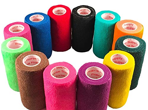 3 Inch Vet Wrap Tape Bulk (Assorted Colors) (Pack of 6) Self Adhesive Adherent Adhering Flex Bandage Rap Grip Roll for Dog Cat Pet Horse