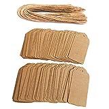 Awtlife - 120 etiquetas de papel Kraft con 120 cordel de yute, 4,5 cm x 9,5 cm,...