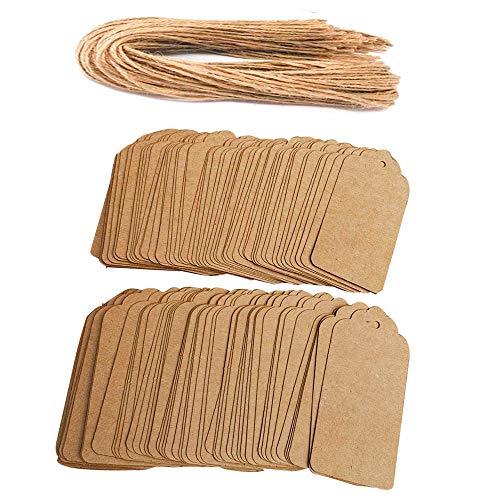 Awtlife - 120 etiquetas de papel Kraft con 120 cordel de yute, 4,5 cm x 9,5 cm, etiquetas de papel kraft ⭐