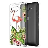 Funda Sony Xperia XZ2 Compact, Eouine Cárcasa Ultrafina Silicona 3D Transparente con Dibujos Antigolpes Gel TPU Protector Bumper Case Cover Fundas para Movil Sony Xperia XZ2 Compact (Avestruz y Flor)