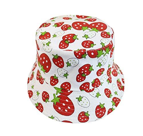 MSFX Creative Foldable Outdoor Sun Hat,Ladies Strawberry Fruit Pattern Fisherman Hat,Double-Sided Wide Brim Stylish Basin Cap-C