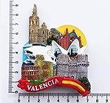 Yqs Imanes de Nevera Pegatinas Creativa Valencia imán España Paisaje Frigorífico Etiqueta Decoración Hogar