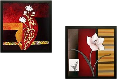 SAF Flower Textured UV Print Painting(Set of 2, 30 cm x 2 cm x 30 cm) SANFAD151 SANFAD151