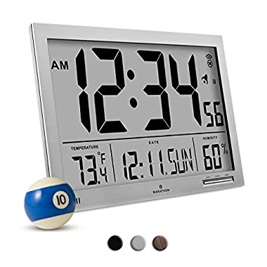 MARATHON CL030062GG Slim-Jumbo Atomic Digital Wall Clock with Temperature, Date and Humidity (Gray)