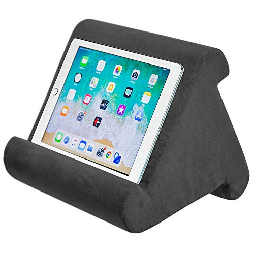 iPad Tablet Stand Pillow Holder - Multi-Angle Soft Tablet Pillow for Lap, Knee, Sofa and Bed - Universal Phone & iPad Stands for eReaders, Magazines, Kindle (black)