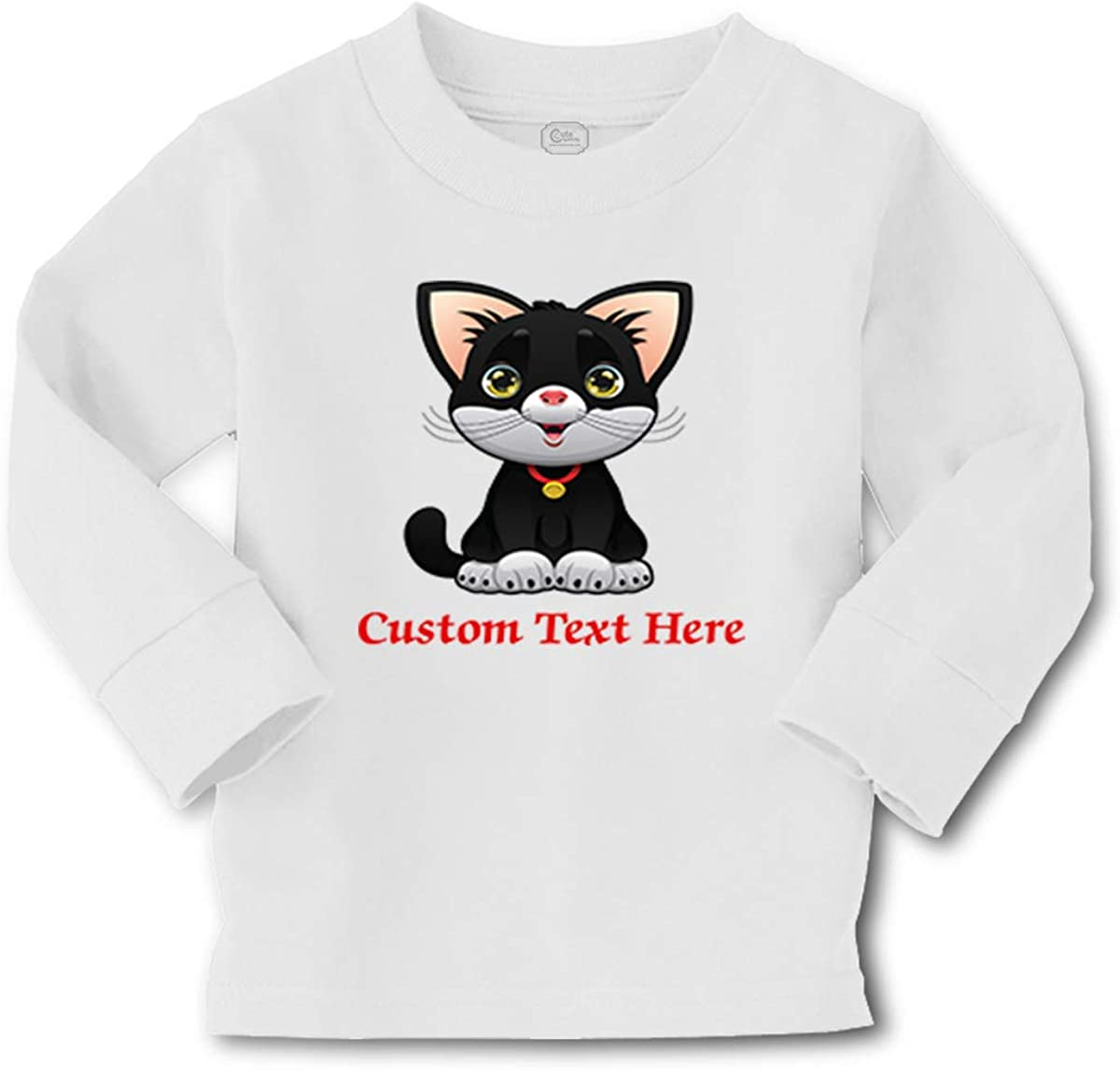 Kids Long Sleeve T Shirt Black1 Cat Cute Lover Kitty Cotton Boy & Girl Clothes