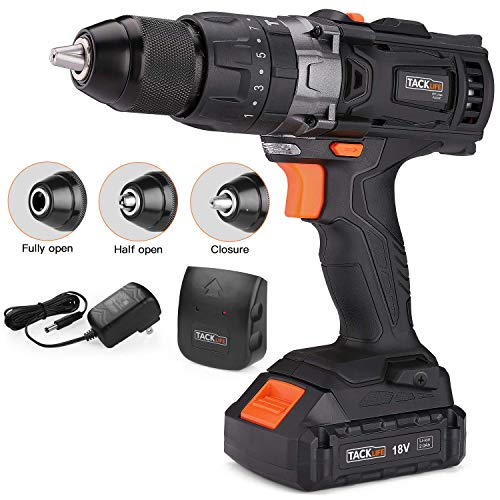 Cordless Drill, Tacklife 20V Drill 2.0Ah Lithium-Ion Battery with Hammer Action 1/2' Metal Auto-locking Chuck 2-Speed Max Torque 310 In-lbs and 16+3 Position with LED- PCD04C