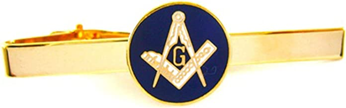 New Brass & Blue Masonic Freemason Mason Tie Bar Clip