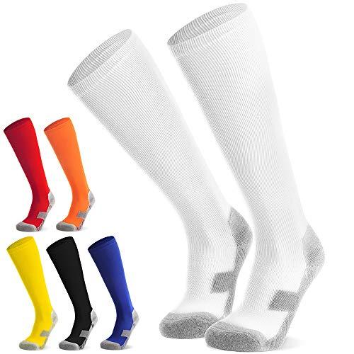 Fußballsocken Stutzen Kinder Jugendliche Socken Fußball Strümpfe - Sportsocken Trainingssocke Sockenstutzen - für Fußball, Laufen, Training (Weiß M)