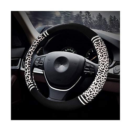 """HCMAX Prima Felpa Suave Funda para Volante Cubierta del Volante del Vehículo Confortable Invierno Protector del Volante del Coche Universal Diámetro 38cm (15"""") Estampado Leopardo"""