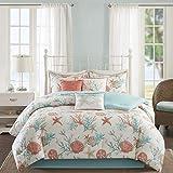 Madison Park Pebble Beach Comforter Set, Queen(90'x90'), Coral/Teal