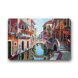 Felpudo Home Gift & Decor Venecia Italia Street Channel Bridge góndolas puerta Mat (23.6 x 15.7 pulgadas)