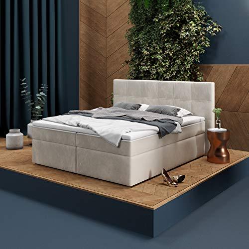 INNOCENT P8 - Cama con somier, 160 x 200 cm, terciopelo beige / crema V02, colchón viscoelástico 7 cm, núcleo de muelles ensacados de 7 zonas, dureza H2/H3, cama de diseño HB01
