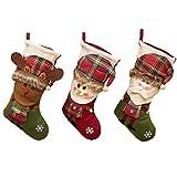 JRY Bolsa de Regalo de Caramelo de 3 Piezas, Medias navideñas de arpillera, Adornos Tradicionales para Colgar en Las Fiestas, Decoraciones para chimeneas