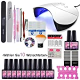 Saint-Acior 36W UV-LED Nagellampe Starterset 10x Gel Lacken für UV Nageldesign Gelnägel Nagelset uv Gel Lacken Set