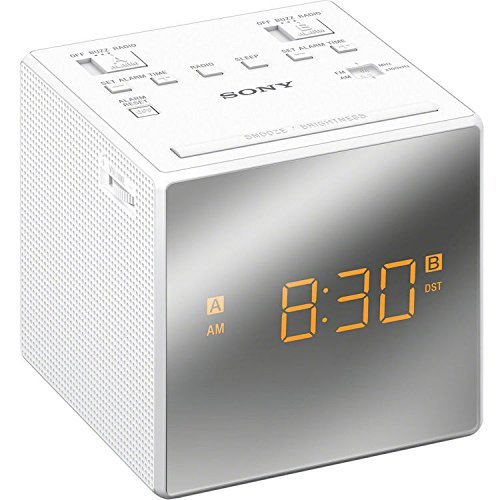 Sony Compact AM/FM Dual Alarm Clock Radio with Large Easy to Read Backlit LCD Display, Battery Back-Up, Adjustable Brightness Control, Programmable Sleep Timer, White Finish