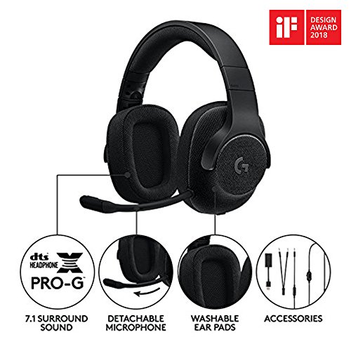 Logitech G433 Casque Gamer Surround, DTS Headphone:X Audio Positionnel 3D, Transducteurs Pro-G, Poids Léger, Puissant, USB/Audio Jack 3,5mm, PC/Mac/Nintendo Switch/PS4/Xbox One - Noir