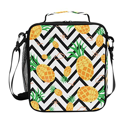 ZOEO Girls Pineapple Lunch Box Prep Kids Insulated Lunch Bag Chevron Cooler Tote Freezable Shoulder Strap Waterproof Picnic Meal for School Office for Girls Women