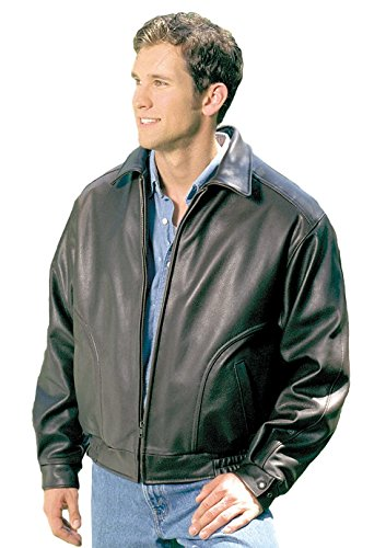 REED Men's All American Bomber Leather Jacket Union Small Black
