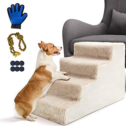 Leadhom Pet Stairs-Non-Slip 4-Step Dog Stairs, Dog Step Bed Stairs, Plastic Pet Steps, Best for Cats&Dogs Climbing High Bed and Couch, Supports up to 50lbs-Send 1 Dog Rope Ball&Pet Gloves