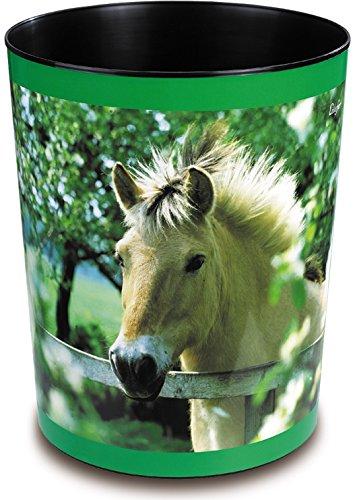 Läufer 26657 Papierkorb Pferde am Weidezaun, 13 Liter Mülleimer, perfekt für das Kinderzimmer, rund, stabiler Kunststoff, verschiedene Motive