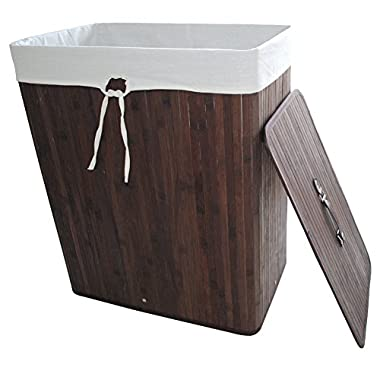 Bamboo Laundry Hamper Folding Cloth Storage Basket Compartment Hamper/Collapsible Hamper with Lid and Removable Lining Rectangle Dark Brown