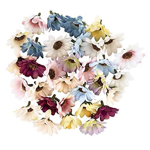 Ideen mit Herz Flores decorativas, flores artificiales, cabezas de flores, diferentes variedades, aprox. 4-5 cm de diámetro (margaritas, multicolor, 30 unidades)