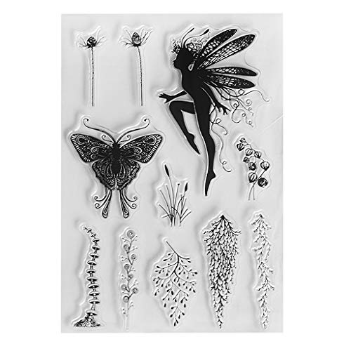 Fairy Botany Clear Stamps?Silicone Stamps for Card Making?DIY Embossing Stamp Scrapbook Photo Album Decor