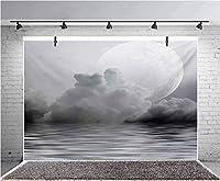 GooEoo 7x5ft 海の霧の空気満月自然画像写真の背景子供の誕生日パーティーのバナー写真スタジオの小道具家族のパーティーの誕生日の背景ベビーシャワーの装飾ビニール素材