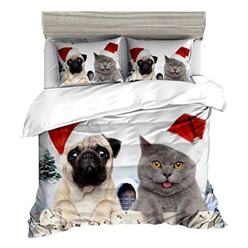 Cnspin Weihnachts-3D-Bettwäsche für Katzen und Hunde 100% Polyesterfaser Bettwäschepaket Einschließlich Bettbezüge und Bettlaken 3 stück,D,180CMX210CM