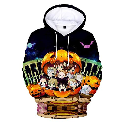 yyqx container Hooded Casual 3D Printing Hoodies Anime Beauty Girl Yellow Pumpkin Fashion Sweatshirts 3D Printing Hoodie Eye-Catching Pullovers with Kangaroo Pockets-Color_3XL