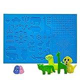 opamoo Plantilla para lápiz de impresión 3D, almohadilla de silicona con patrón básico de animales juguetes educativos no tóxico plegable útil para principiantes niños adultos y artistas en 3D
