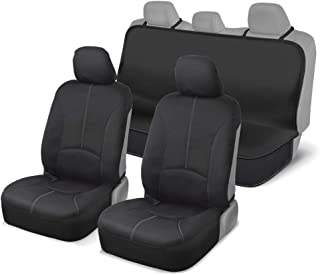 Motor Trend DC210-A2 Grey 100% Waterproof Front and Rear Seat Covers for Car Senda SUV Van Truck - Poly Neoprene Material Easy to Install (Gray Stitching)