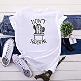 Rugby clothing boutique Q Do Not Touch Me Coton à Manches Courtes T-Shirt de la Femme, Les Femmes Plus Size T-Shirt Respirant Casual (Color : White, Size : XXL)