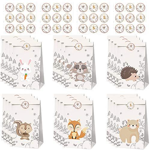 afdg Bolsas de Regalo de Papel, 24 Piezas Bolsa Regalo Cumpleaños Animales, Bolsa de Papel para Aperitivos, con Pegatinas de Animales para Regalos Navideños, Galletas, Dulces de Chocolate
