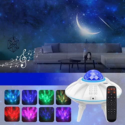 「2020最新改良版&リモコン式」スタープロジェクターライト ベッドサイドランプ?LEDデジタル2in1投影効果 星空ライト プラネタリウム タイマー機能付き 音量/明るさ/波紋回転スピード調整可 音声制御 催眠投影