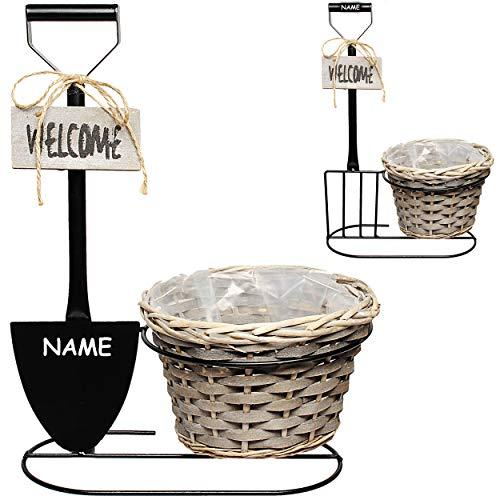 großer Aufsteller + Pflanzschale - Welcome - inkl. Name - 46 cm groß - Deko - Pflanzkübel / Pflanzschale / Blumentopf - Flur Hauseingang - Dekoration Eingang ..